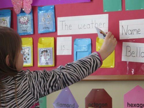 Building a child's vocabulary in preschool   Teach Preschool - labeling the classroom