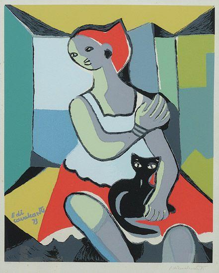 """Emiliano Augusto Cavalcanti de Albuquerque Melo a.k.a. Di Cavalcanti (Brazilian, 1897 – 1976) - """"Mulher com gato"""", 1973"""