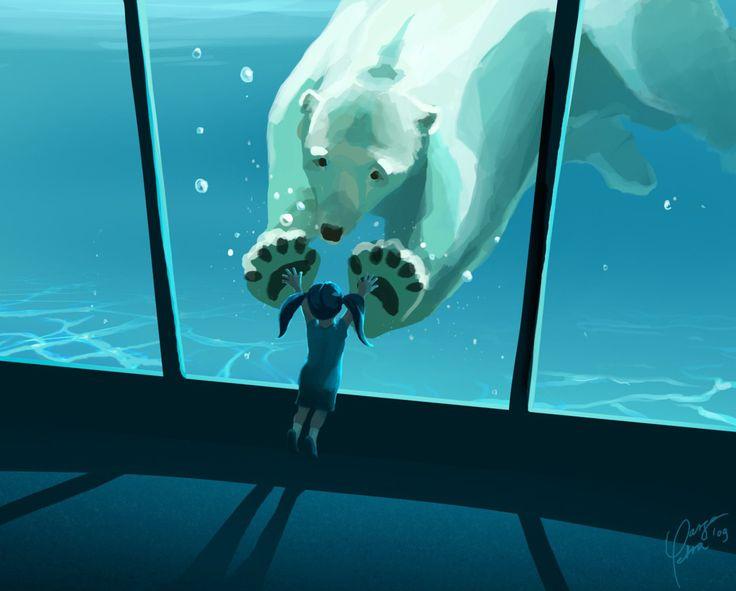 Me encanta la perspectiva y la proximidad de los elementos que presenta la composición. La paleta de colores pasteles fue la ideal para comunicar el mensaje. Hay fluidez en la composición respecto al agua y al posición del oso polar con una proporción un tanto exagerada pero que no causa ruido alguno.