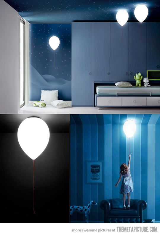 cool-kids-lamp-balloon-bedroom-design I Love The bed As Well ........Cool