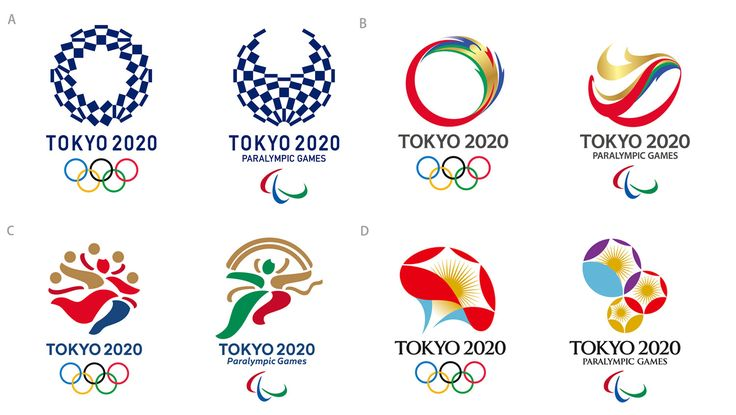 The final four candidates for the logos of the Tokyo 2020 Olympics were unveiled Friday. The original logo was scrapped after claims of plagiarism.    TOKYO ORGANIZING COMMITTEE OF OLYMPIC AND PARALYMPIC GAMES