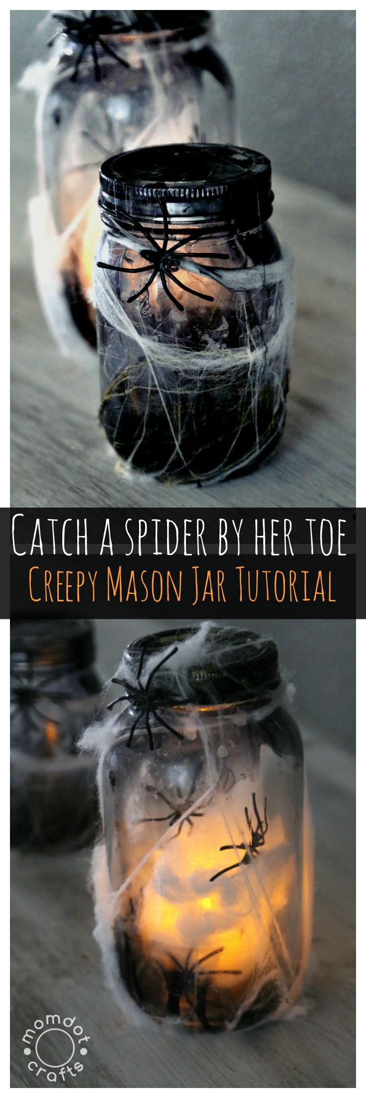 Pinterest Halloween Decoration Ideas -  catch a spider by its toe light up mason jar