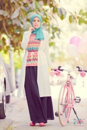 long white cardigan hijab, Cute pastel hijab for spring http://www.justtrendygirls.com/cute-pastel-hijab-for-spring/