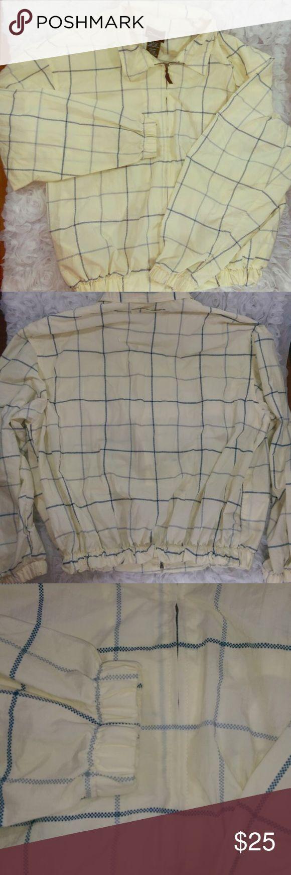 "Men's Golf Jacket Men's Golf Jacket Size Large CATALINA Cream Blue Plaid Check 100% Nylon Windbreaker Full Zipper ""Armpit to Armpit - 28"""" Sleeve - 25"""" Shoulder to Hem - 26"""""" catalina Jackets & Coats"