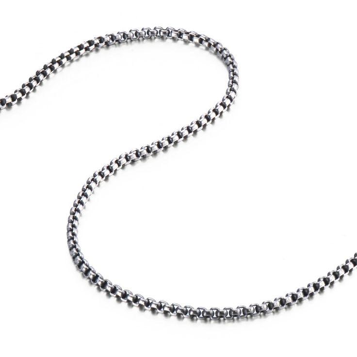 R&B Schmuck Herren Halskette Edelstahl - Kollektion Bad Ass - Sträfling (6mm, Silber, Schwarz): 19,90€