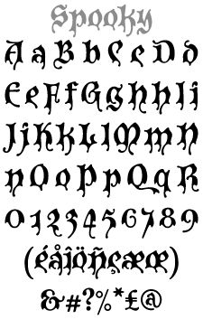 halloween leetering | Spooky is a chilling font that is evocative of the type used in horror ...