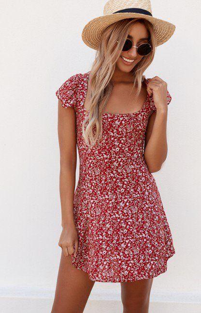 Juliet Flora Dress Red