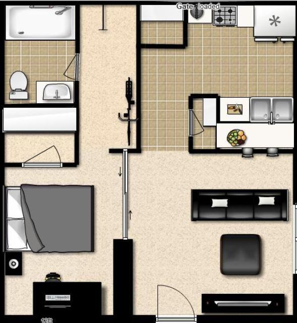 Studio Apartment Separate Sleeping Area