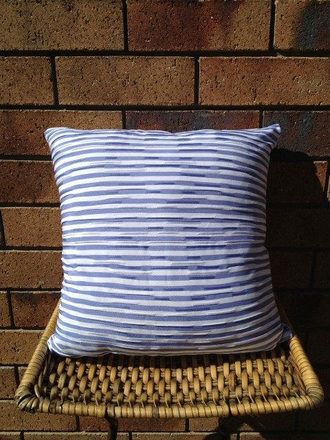 Power Pleats in Blue. 40x40cm blue and white textured cushion $AUD25