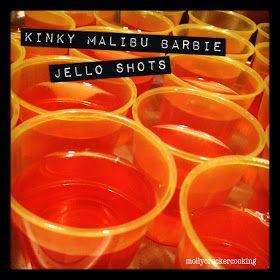 Kinky Malibu Barbie Jello Shots. 1 box peach Jello, 1/2 cup kinky,1/2 cup Malibu .
