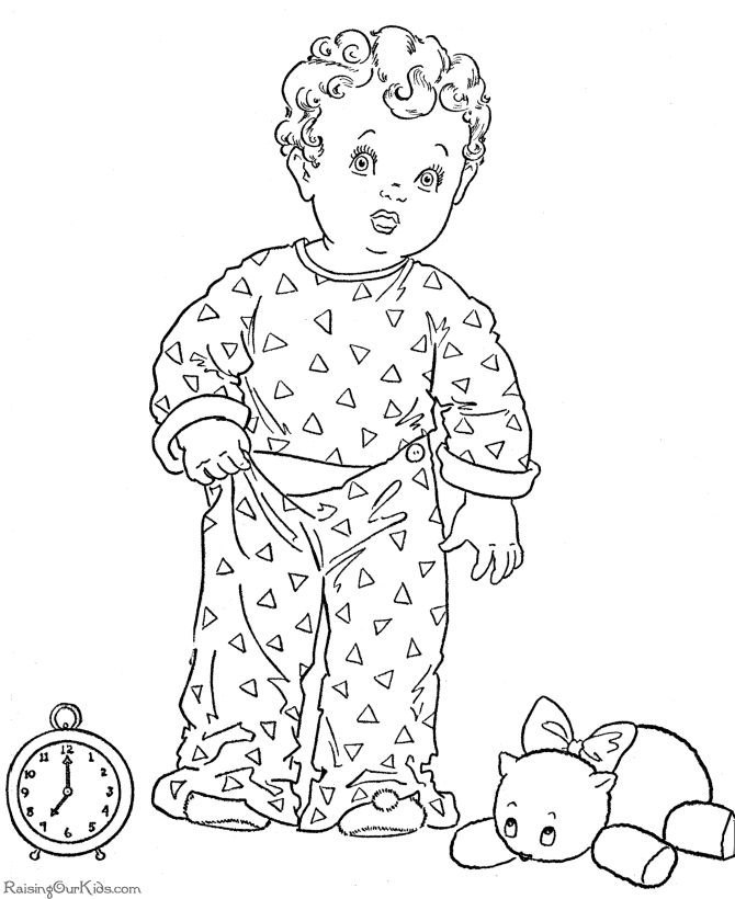 Kid's printable Christmas coloring pages - Bedtime!
