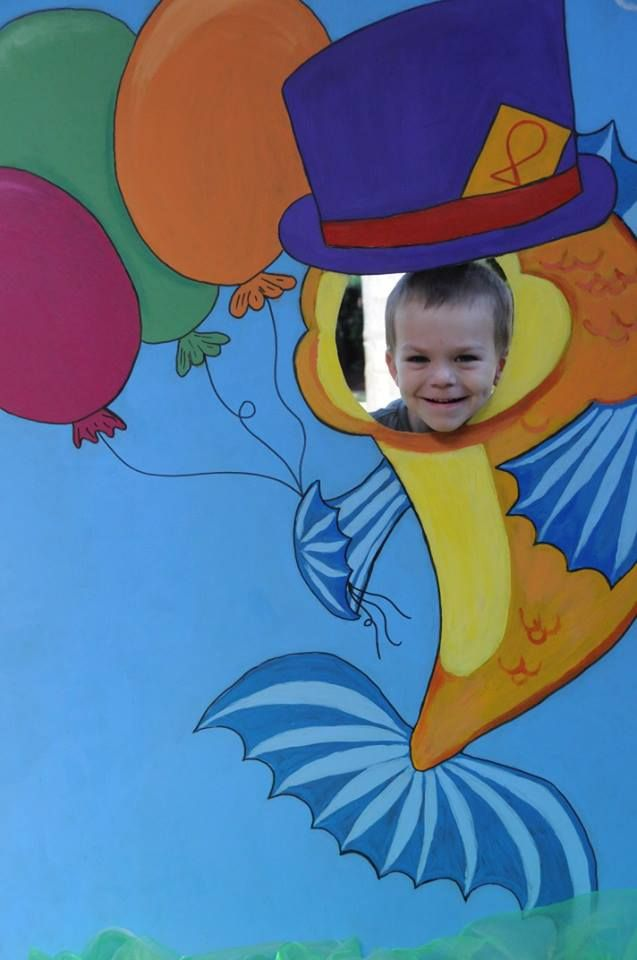 Fish theme party - our own staff painted this photo board!