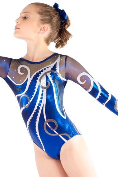Blue and White Long Sleeve Leotard