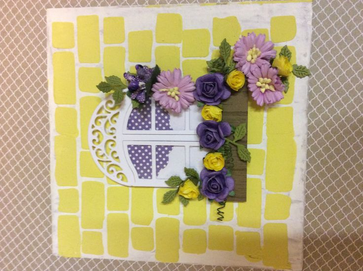 Spellbinder window, Creative Expressions mask,paper flowers