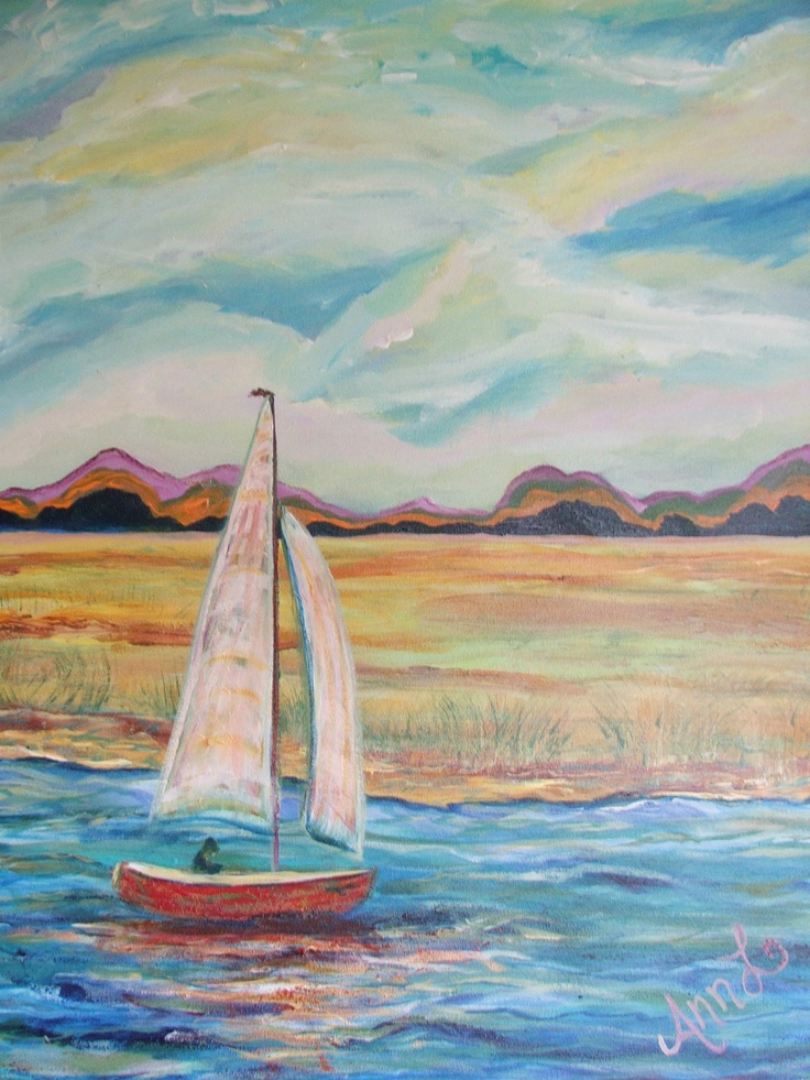 #Serenity #painting Of #sailboat By #Ann #Lutz.