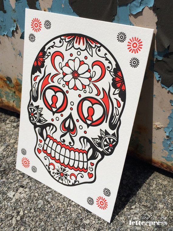 Day of the Dead Skull-Orange : POSTER/ART PRINT  Art Prints are printed by hand on our vintage platen presses using 100% tree-free cotton paper. #Letterpress #DayoftheDead #Skull #SugarSkull #ArtPrint