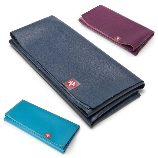 Manduka eKO SuperLite Travel Mat: Weighing in at only two pounds, the Manduka eKO SuperLite Travel Mat ($35, originally $39) offers the grip you've come to love from Manduka mats, but it easily folds up to fit in your suitcase or carry-on bag. It's 1/16 inch thick and made of biodegradable rubber that won't flake off or fade and comes in tons of great colors. Too thin for you? The eKO Lite Mat ($42, originally $46) is twice as thick and weighs 3.5 pounds.