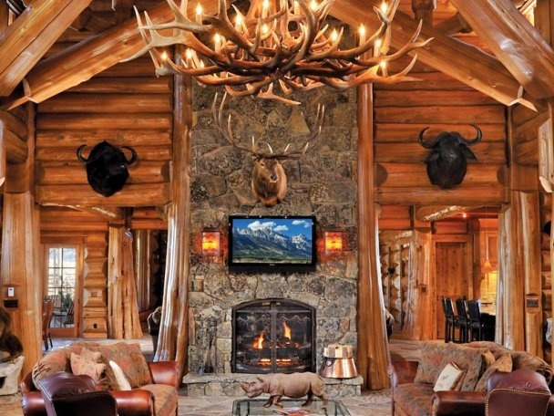 108 best images about cabins log cabins on pinterest for Log cabin fireplace designs