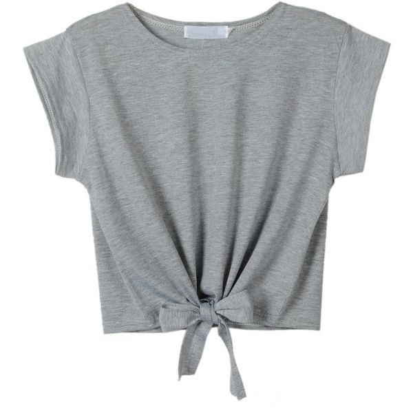 Gray Tie Front Crop Top (£9.95) ❤ liked on Polyvore featuring tops, t-shirts, shirts, crop tops, gray t shirt, cropped tops, tie front t shirt, round t shirt and grey crop top