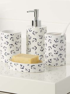 Nautical Chic | Simons Maison Stenciled Anchor Accessories. #home #decor #bathroom