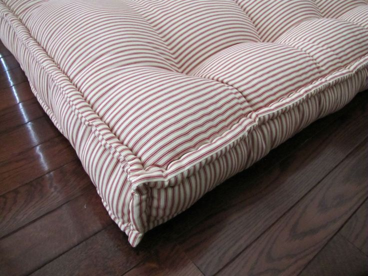 Custom Cushions, Red Ticking Stripe, French Mattress Quilting, Tufted Daybed Mattress, Custom Window Seat, Bench Seat Cushion, Floor Pillow by GratefulHome on Etsy https://www.etsy.com/listing/248853149/custom-cushions-red-ticking-stripe