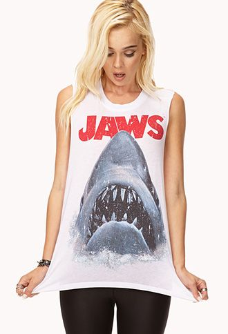 """A muscle tee featuring a distressed """"Jaws™"""" graphic. Round neckline. Raw cut armholes. Knit. Lightweight."""