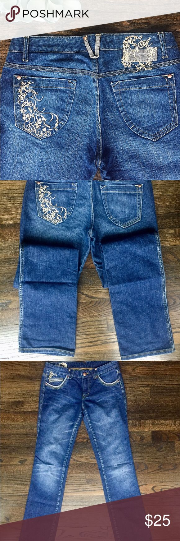 Armani Exchange Jeans Armani Exchange boot cut jeans with beautiful sparkly gold embroidery and sparkly gold woven throughout. Soft distressing. Button and zip fastening. Mid rise. In like new condition, worn twice. A/X Armani Exchange Jeans Boot Cut