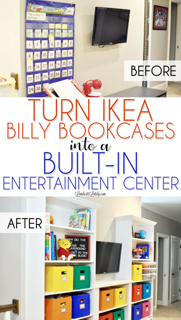 This is such an easy way to turn inexpensive Billy Bookcases from Ikea into an entertainment center with a custom, built-in look! Great for a kids' playroom, bedroom, or office. Even shows how to give the bookshelves crown moulding and baseboards.