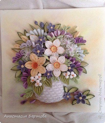 Картина панно рисунок Квиллинг Солнечный день Бумажные полосы Проволока фото 1