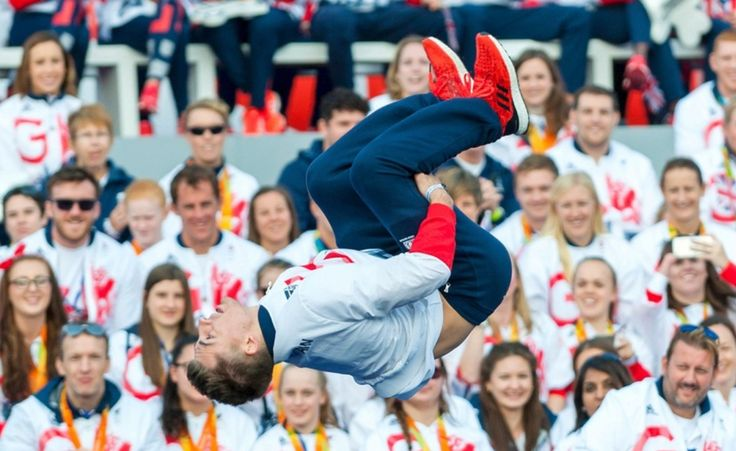 October 19 2016 - Max Whitlock entertains Team GB during the Olympic and Paralympic parade in London