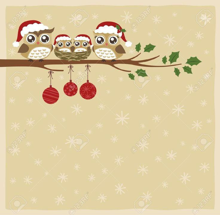 Gufo Della Famiglia, Natale, Festeggiamento Clipart Royalty-free, Vettori E Illustrator Stock. Pic 16310566.