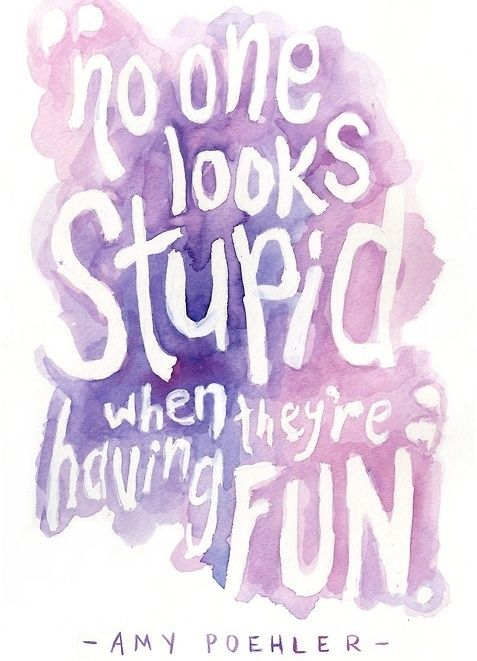 No one looks stupid when they're having fun. | Amy Poehler Picture Quotes | Quoteswave