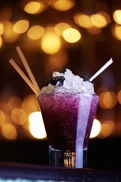 Blackberry Rum Runner***1-1/2 ounces Mount Gay Eclipse Rum** 1/2 ounce Banana Liqueur (DeKuyper or Bols)** Splash of pineapple juice** Splash of orange juice** 1/2 ounce Monin Blackberry Syrup** Splash of Sprite