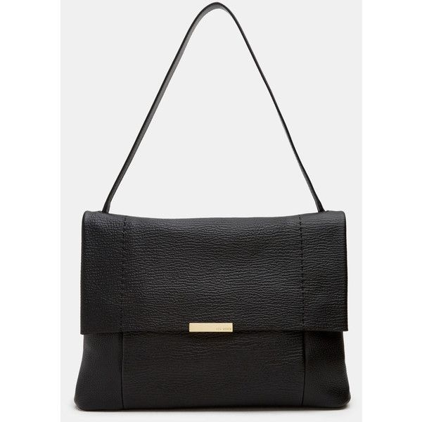 Ted Baker Textured leather shoulder bag ($319) ❤ liked on Polyvore featuring bags, handbags, shoulder bags, black, ted baker handbags, metallic purse, top handle handbags, metallic handbags and shoulder bag purse