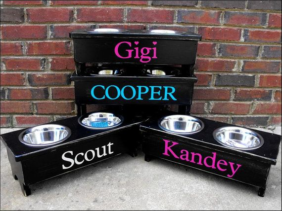 Raised Dog Bowl Stand Personalized 9'' by TurquoiseWoodWorks, $50.00