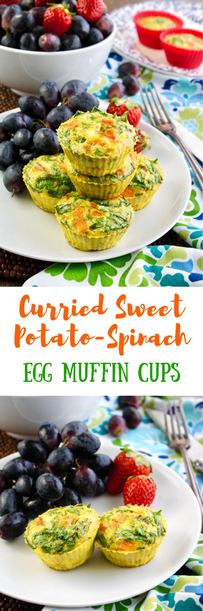Curried Sweet Potato-Spinach Egg Muffin Cups are easy to make! These goodies are gluten free, and vegetarian, too.