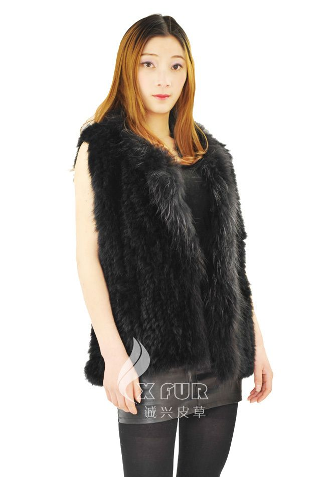 Ems бесплатная доставка CX-G-B-19 трикотажные кролика женская мода меховой жилет прямая поставка