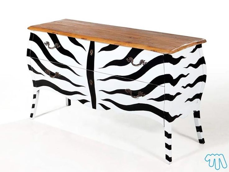 Commode vintage blanc zébré noir Meuble design Gaborone