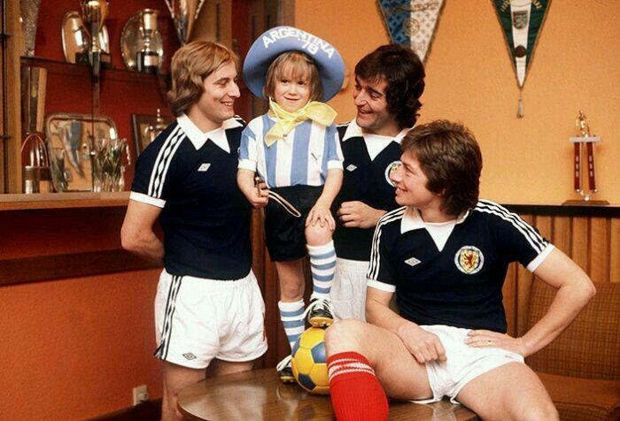 Argentina '78: Scotland players with mascot 'Gauchito'.