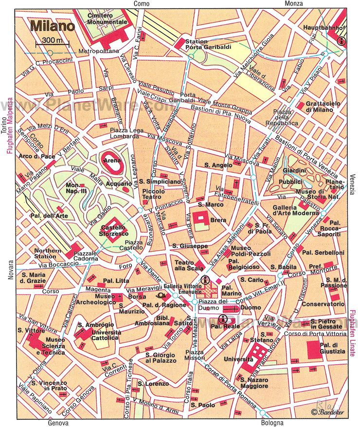 Map of milan tourist attractions planetware my travels for Milan sites to see