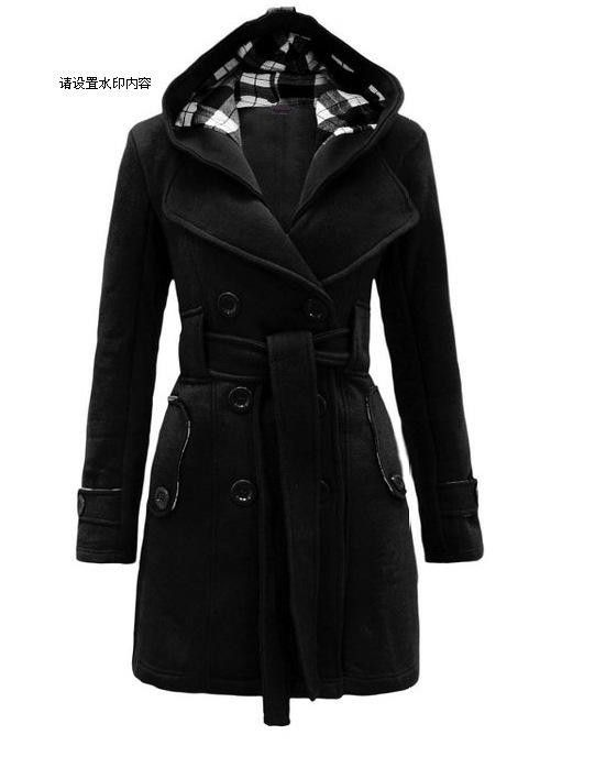 Plus Size Double Breasted Long with Belt Hooded Coat