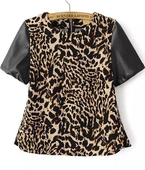 Bluse Kurzarm PU Leder, leopard 12.89