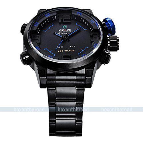 SUPER BARGAIN!!! NEW Model!! Fashion Black Stainless Steel Luxury Sport Analog Quartz Clock Mens Wrist Watch in Jewelry