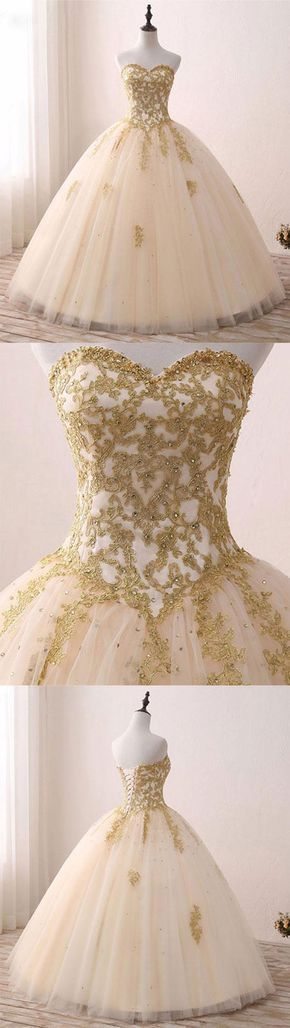 Popular Ivory Tulle Quinceanera Dresses with Gold Lace Strapless Ball Gown Sweet 16 Dresses #ElegantPartyGowns