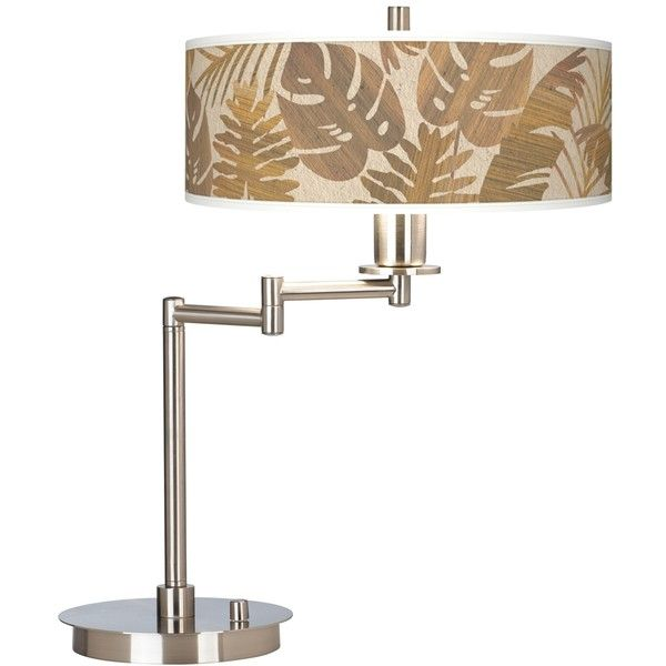 Tropical Woodwork Giclee CFL Swing Arm Desk Lamp ($150) ❤ liked on Polyvore featuring home, lighting, desk lamps, brown, energy saving lamp, brown shades, colored lamps, giclee gallery and energy efficient lighting