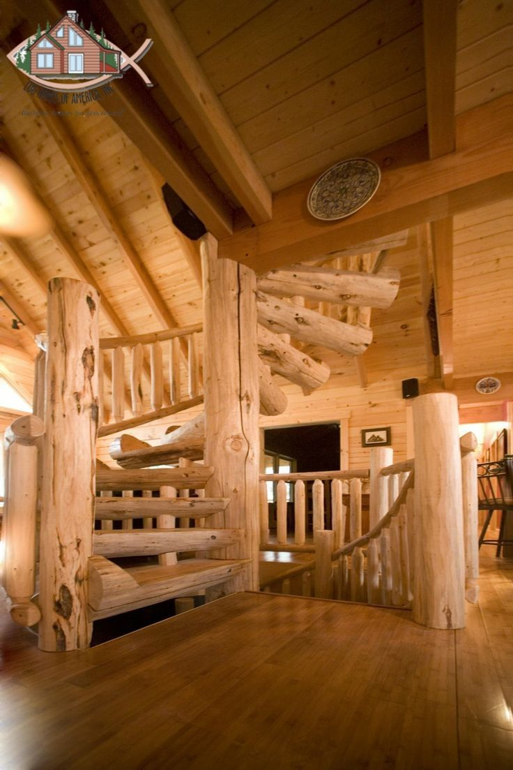 17 best images about staircases on pinterest drywall for Log cabin with basement