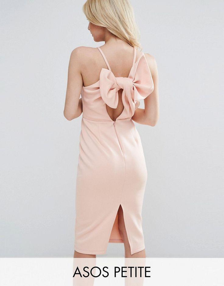 ASOS PETITE Bow Back Scuba Midi Pencil Dress - Pink