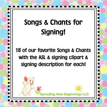 Using American Sign Language (ASL) and music is a wonderful way to support vocabulary development in children.  Here are 18 of our favorite songs & chants along with their ASL illustrations and signing descriptions. This is a great resource to use all year long!