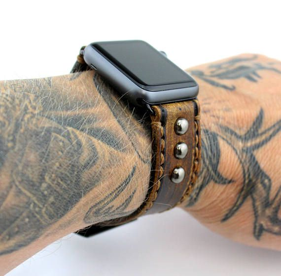 Leather Apple watch band with Studs, Vintage Brown Apple watch strap, apple band 38mm, apple band 42mm, Leather strap for apple watch,