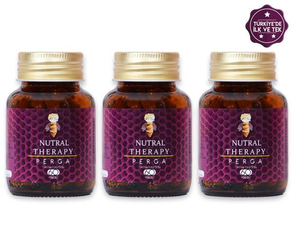Nutral Therapy® Perga Kapsül (60 Kapsül)  %100 yerli perga (arı ekmeği) içermektedir.